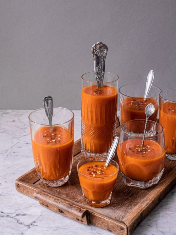 Gazpacho aus Tomate, Paprika und Honigmelone | FREE MINDED FOLKS