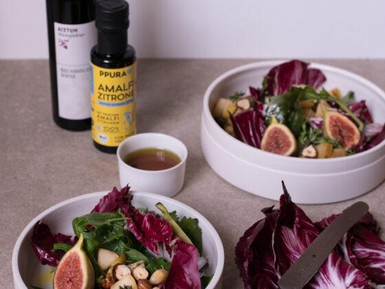Radicchio Salat mit Birne, Haselnuss und Birnenvinaigrette   FREE MINDED FOLKS